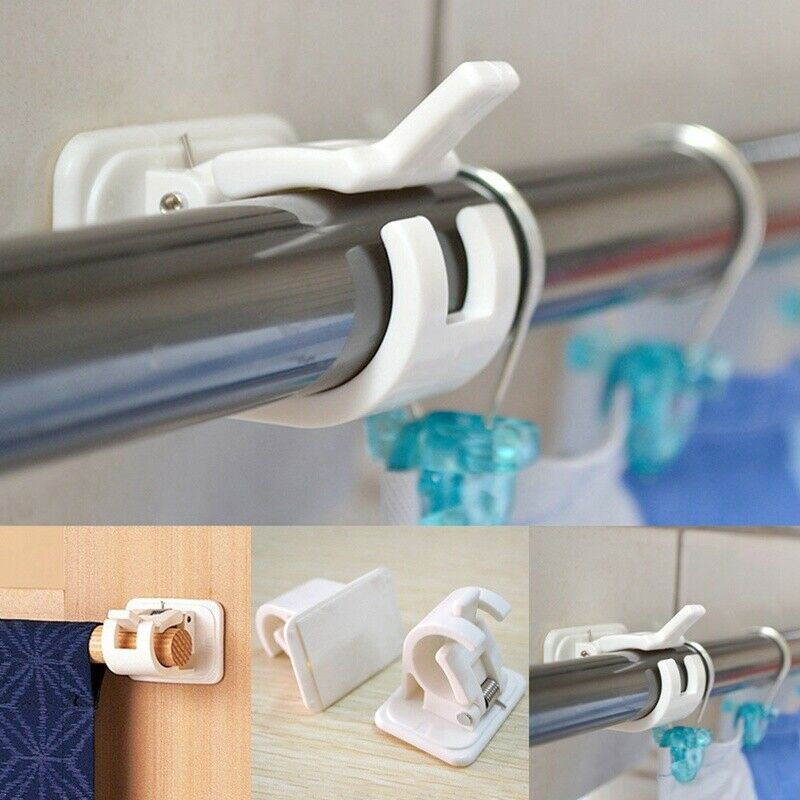 2pc Set Adhesive Wall Curtain Rod Pole