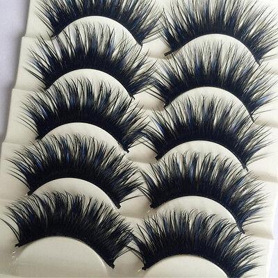 5 Pairs Blue+Black Long Thick Cross False Eyelashes Handmade eye lashes (Blue Eyelashes)