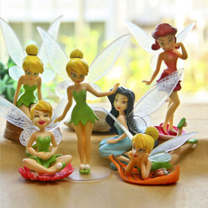 6pcs Flower Pixie Fairy Princess Miniature Figures Dollhouse Garden Ornament Toy