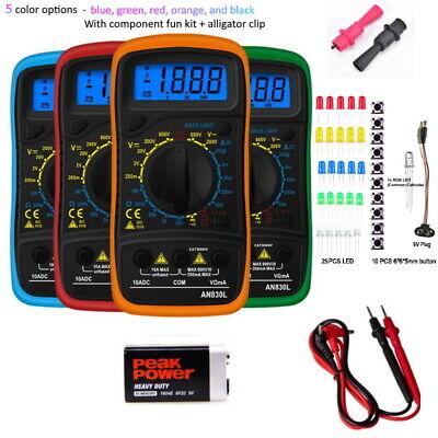 Digital Voltmeter Ammeter Ohmmeter Multimeter Volt Ac Dc Tester Meter W Led Kit