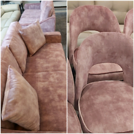Blush pink/lilac fabric 2x 3 seater sofas and 6 dining chairs set