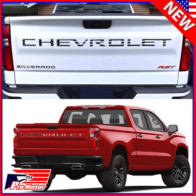 For 2019 2020 Chevrolet Silverado BLK USA Flag Tailgate Insert Letters 3D Raised