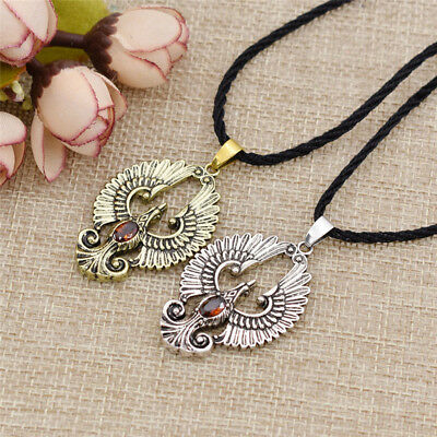 Vintage Phoenix Bird Pendant Necklace Choker Red Stone Charm Unisex Jewelry Gift