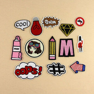 Set of 13Pcs Embroidery Boom Diamond Sew Iron on Patch Badge Bag Fabric Applique