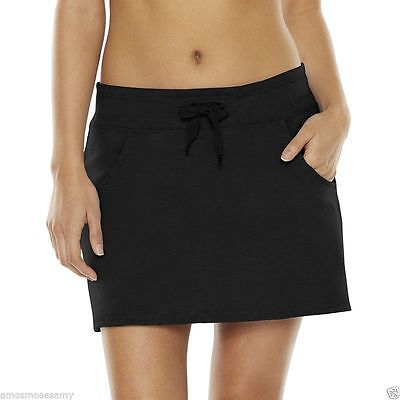 NEW Gaiam Studio Street Womens Karma French Terry Black Skirt Drawstring XS 2