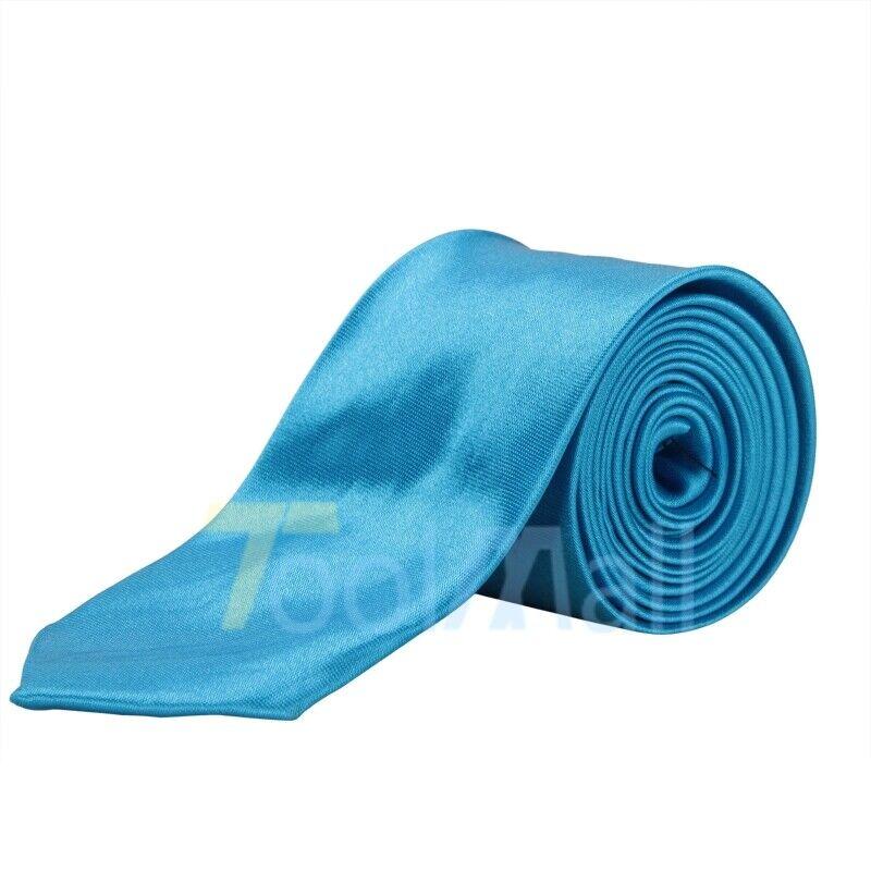 Mens Silk Ties Blue Casual Solid Plain Classic Skinny Woven Slim Men Tie Necktie