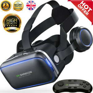 """Virtual Reality VR Headset 3D Glasses with Remote Controller for 4.5-6"""" Screens"""