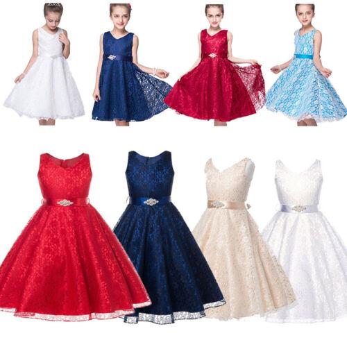 Kinder Mädchen Festkleid Spitzenkleid Festliches Kleid Lace Weihnachten Hochzeit