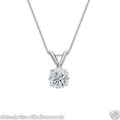 1 Ct Round Brilliant Cut Solid 14k White Gold Solitaire Pendant 18