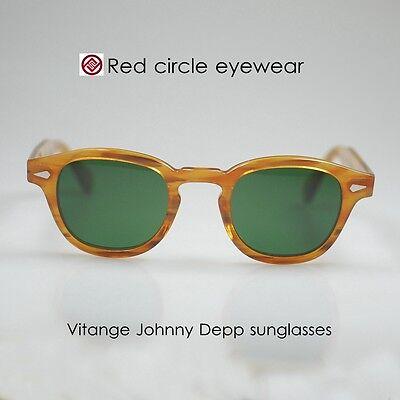 Retro sunglasses mens Vintage Johnny Depp sunglasses BLONDE round G15 glass lens