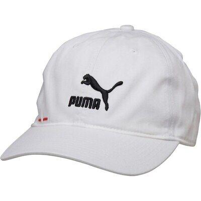 New Puma Mens Logo BB Baseball Cap, White/Black/Red