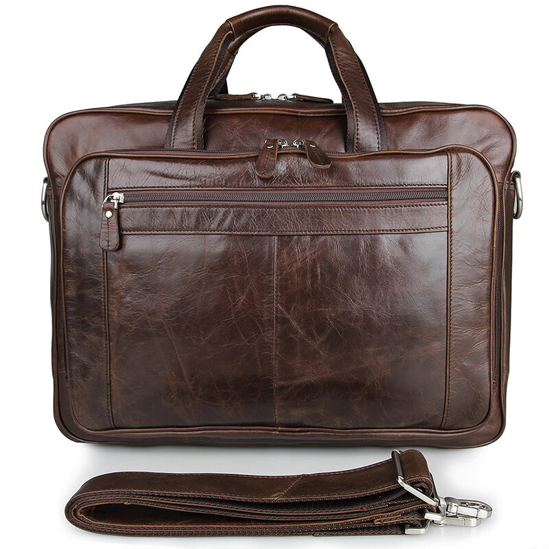 "Leather Men/'s Briefcase 17/"" Laptop Bag Genuine Cowhide Leather Business Bags"