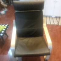 Like new Ikea Poang Chair - black leather