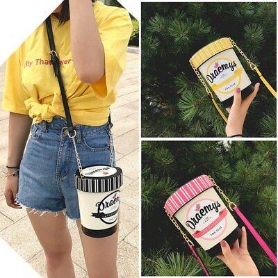Fashion Cute Ice Cream Cup Mini Bag Women Bucket Handbag Shoulders Casual Purse ()