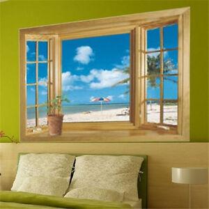 Beach Window View Scenery 3D Wall Stickers Vinyl Art Mural Decal Room Decor UK