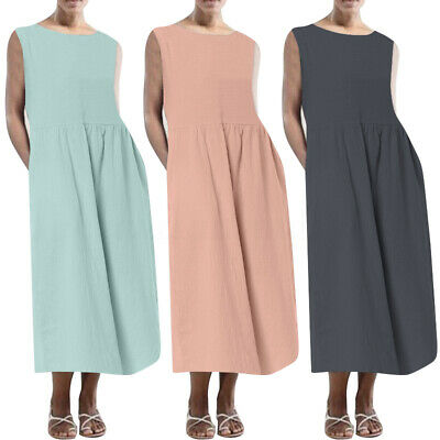 UK STOCK Women Vintage Sleeveless Casual Loose Long Shirt Vest Dress Sundress