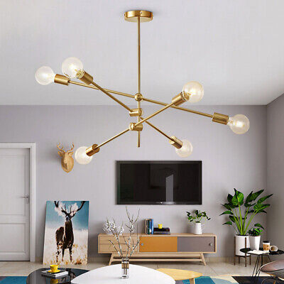 Modern Gold Metal Ceiling Fixture Adjustable Branch 6 Arms Lamp Pendant Light ()