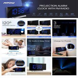 Digital Stylish Curved Jumbo LED Dual Twin Projector Alarm Clock FM Radio Snooze