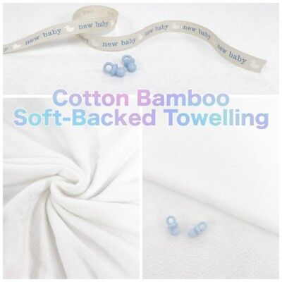 Plain Soft-Backed Bamboo Cotton Mix Super Soft Double Sided Towelling Fabric ()