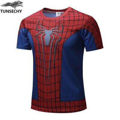 Camiseta Hombre Compresión Spiderman Manga Corta Talla L-XL Nuevo