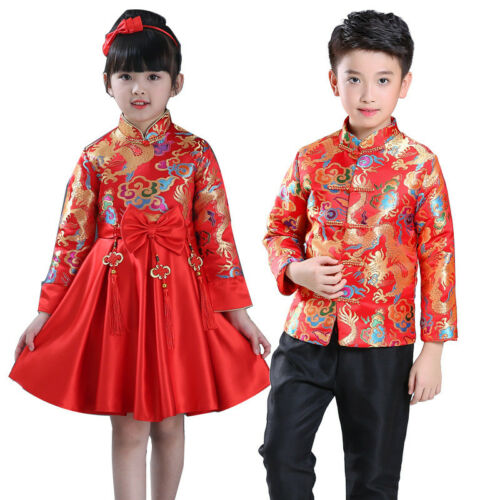 Children Tang Suit Chinese Traditional Garments Costume For Boy Girl Party Dress