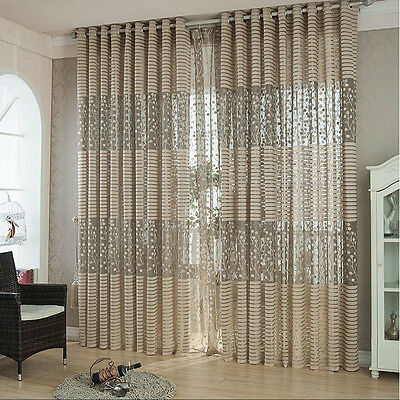 Leaf Tulle Door Window Curtain Drape Panel Sheer Scarf Valances