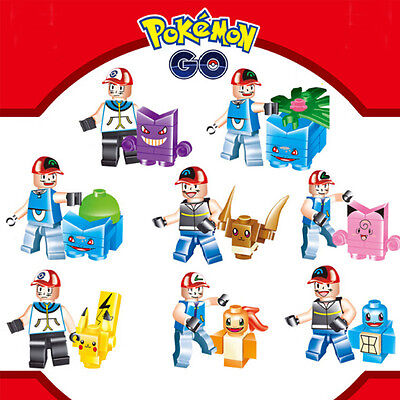 8pcs pokemon go Set POKEMON Mini Figures PIKACHU Building Blocks Toys Baby Lego