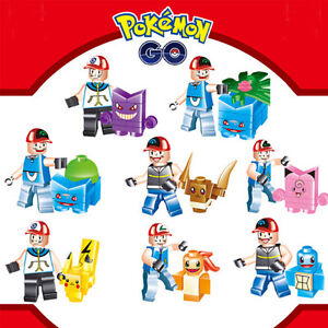 8pcs pokemon go Set POKEMON Mini Figures PIKACHU Building Blocks Toys Baby Lego