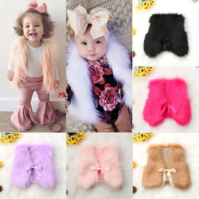 Faux Fur Coat Girl (US Winter Warm Baby Girls Toddler Kids Faux Fur Vest Gilet Outerwear Coat)