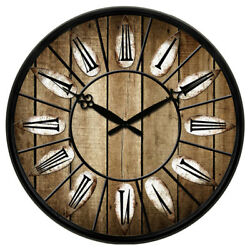 38cm Round Wooden Wall Clock Watch Silence Antique Home Office Rooms Decor Large