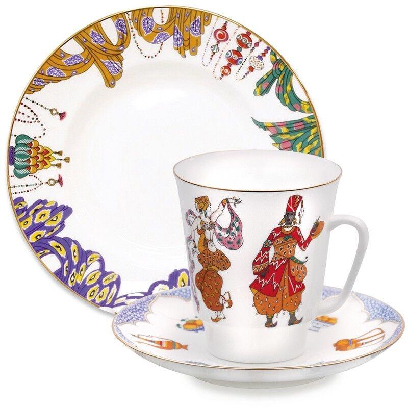 Imperial Lomonosov Porcelain Teacup, Saucer & Plate. Scheherazade Ballet Set