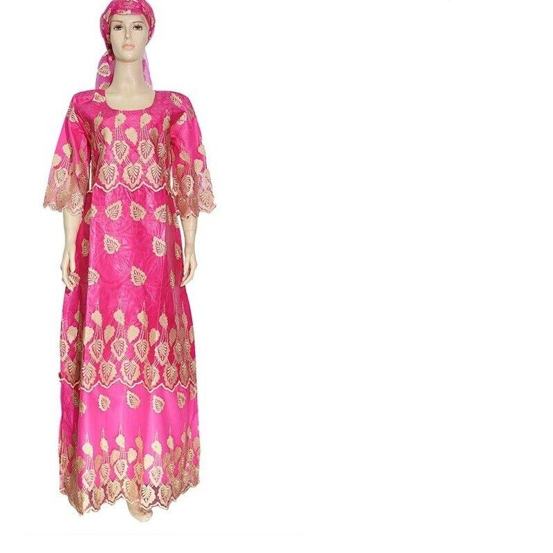Plus Size African For Women Clothes Embroidery  Lace Dresses Maxi With Headscarf