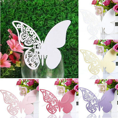 50Pcs Butterfly Shape Place Card Wedding Birthday Party Wine Glass Table Decor](Butterfly Party)