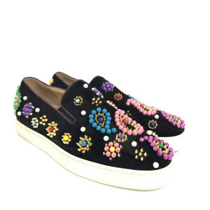 Christian Louboutin Black Boat Candy Slip-On Sneakers