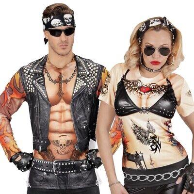 BiKER ROCKER bedrucktes T-Shirt Damen & Herren Partner - Rocker Kostüm