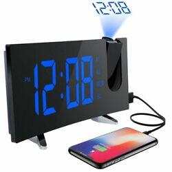 5inch Dimmable Projection Digital Alarm Clock FM Radio Dual Alarm Clock USB Port