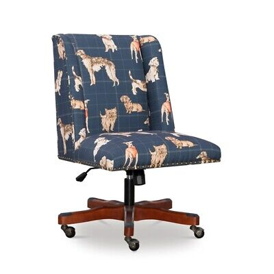 Linon Draper Dog Wood Upholstered Office Chair In Blue