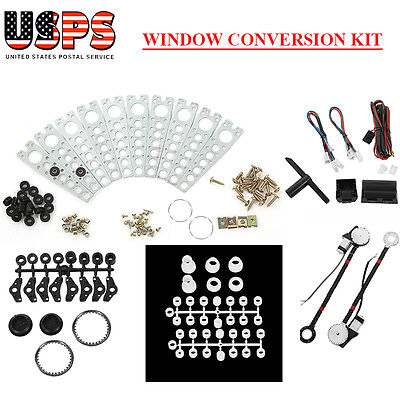 Electric 2 Power Motor Window Roll Up   2 Door Lock Conversion Kit For Car Truck