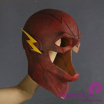 US SHIP Halloween The Flash Mask Allen Red Mask Helmet Full Face Latex Cos Mask - Flash Mask