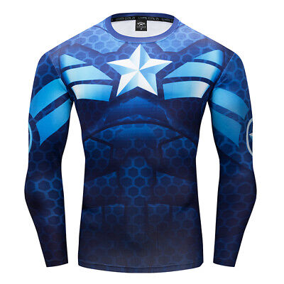 Blue T-Shirt Captain America Long Sleeve Superhero Costume Gym Sports 3D Printed (Captain America Long Sleeve)