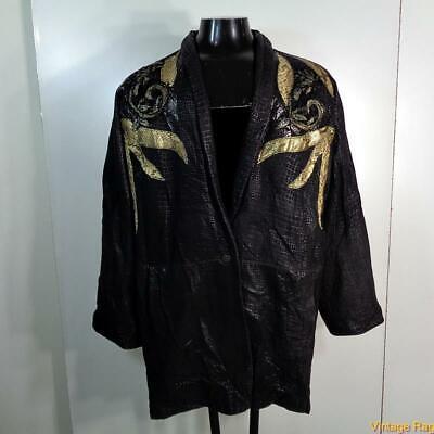 Vtg Soft Lambskin Leather JACKET Blazer Womens Size 10 Black snakeskin