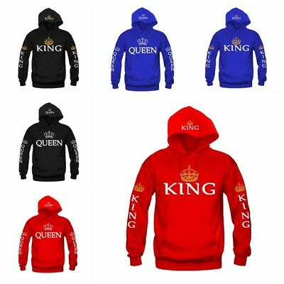 King Queen For Couple Hoodie his and hers Jumper Sweater Top Sweatshirt Pullover