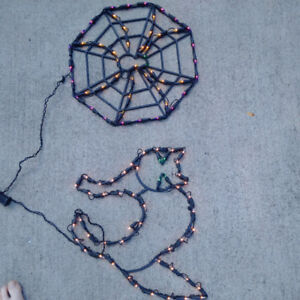 Light up Halloween Decorations - cat and spider web