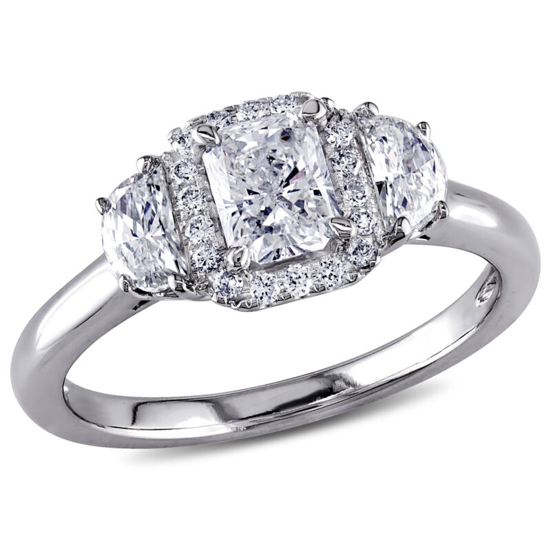 Amour 1 Ct Tw Diamond 3-stone Halo Engagement Ring In 14k White Gold
