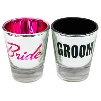 Bachelorette Party Bride And Groom Shot Glass Set](Bride And Groom Glasses)