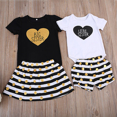 USA Kid Baby Girls Big/Little Sister Romper Pants T-shirt Dress Outfits Clothes