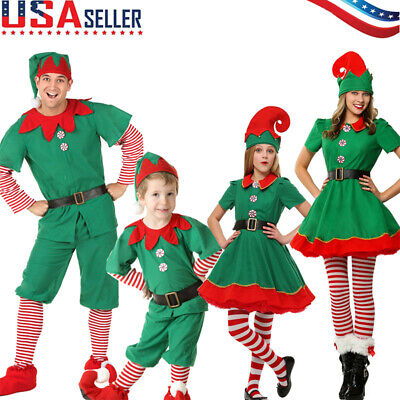 Santa Helper Costume Unisex Kids Family Christmas Elf Outfit Party Cosplay Suit
