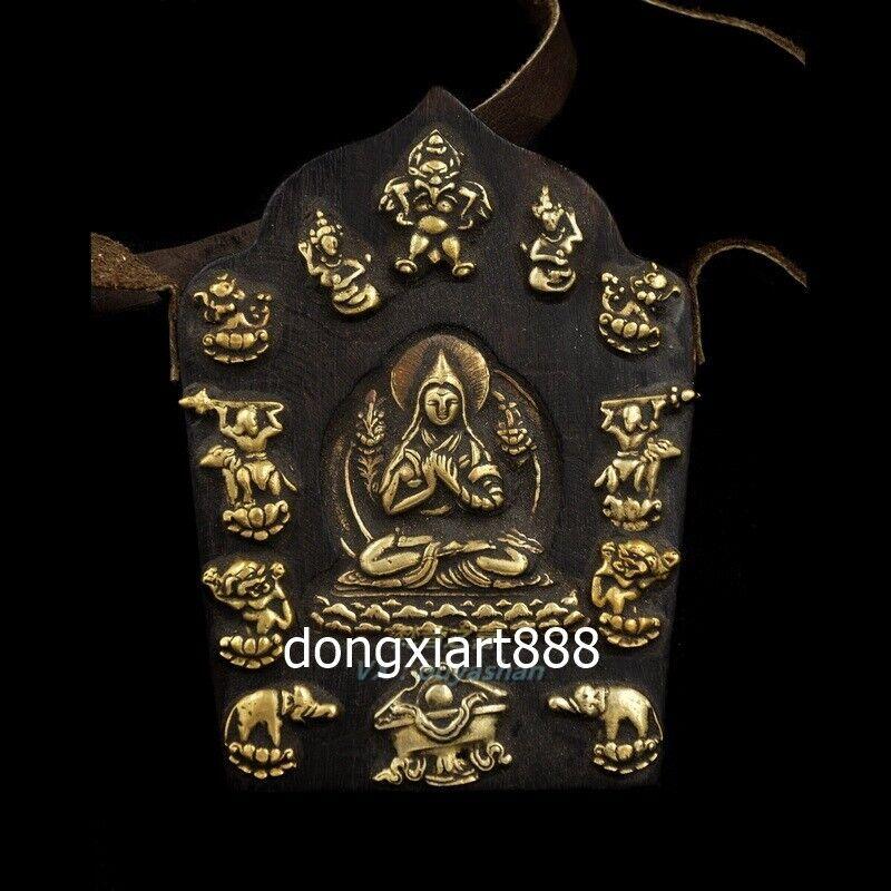 Tibetan wood bronze niche for Buddha shrine Tsongkhapa Manjusri Amulets Pendants