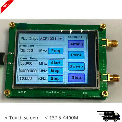 137.5-4400m Rf Signal Generator Touch Screen Spot Frequency Sweep Frequency