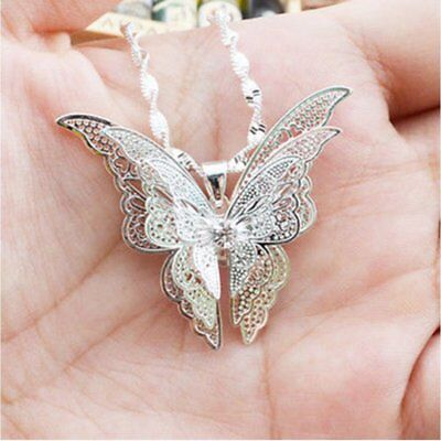 Lovely Luxury Women Lady Silver Plated Hollow Butterfly Necklace Pendant -